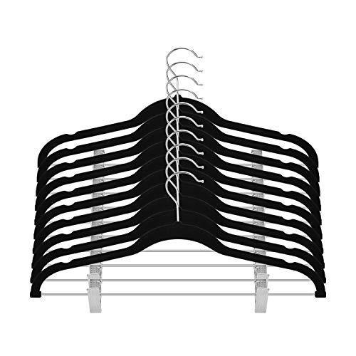 OIKA Clothes Hangers with Clips Premium Velvet for Pant or Non Slip Skirt Hanger-360 Degree Swivel Hook-20 Pack (Black)