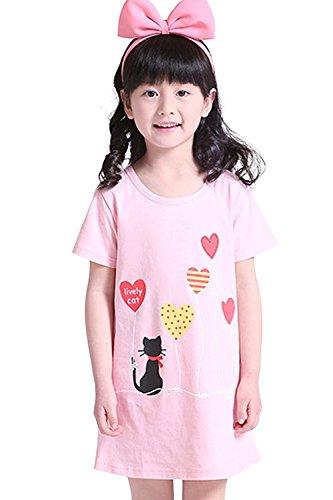 Abalaco Girls Kids Cotton Summer Cartoon Nightgown Sleepwear Dress Pretty Home Dress 3-12T (11-12 Years, Pink heart) by Abalaco (Image #2)