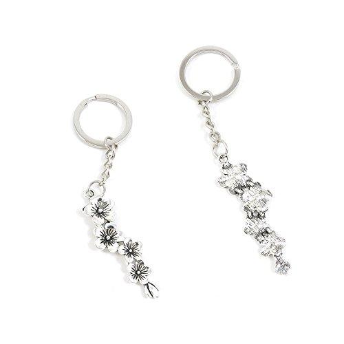 Branch Flower Plum (1 PCS Plum Flower Branch Keychain Keyring Jewelry Making Charms Door Car Key Tag Chain Ring P5FS5J)