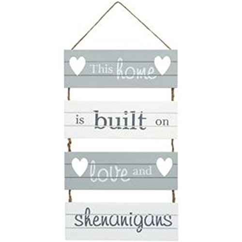 'This Home is Built on Love and Shenanigans' Hanging Slatted Sign Transomnia