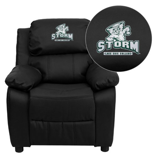 - Flash Furniture Lake Erie College Storm Embroidered Black Leather Kids Recliner with Storage Arms