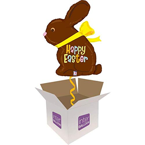 Single Balloon InterBalloon Helium Inflated 39  Chocolate Easter Bunny Balloon Delivered in a Box with 4 Extra Balloons of your choice