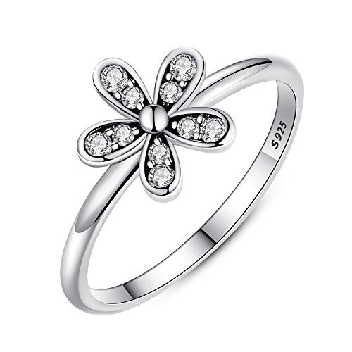 azzling Elegant Flower Engagement Ring with Clear CZ Fine Jewelry Gift for Women Size 6-9 (9) ()