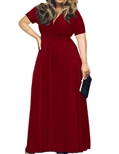 HWOKEFEIYU Women's Plus Size Formal Wedding Dresses Cocktail Party Tube Dress for Guests(Wine Red,2XL)