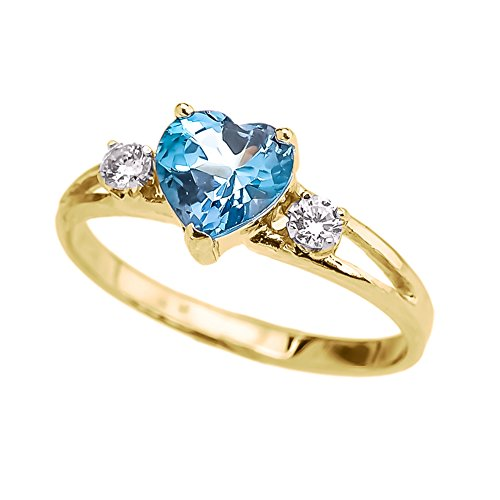 (Precious 10k Yellow Gold December Birthstone Heart Proposal/Promise Ring with White Topaz (Size 7))