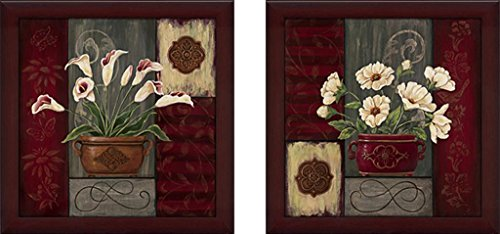 Burgundy Wall Decor - Art Sets of 2 Twin Set Matching Glass Framed Free Shpping Made in North America by FramedCanvasArt