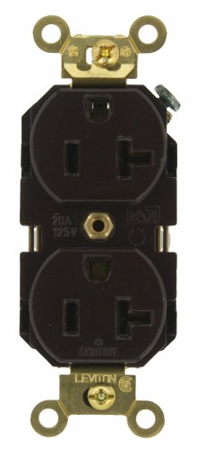 Leviton 5362 20-Amp, 125 Volt, Industrial Extra Heavy Duty Grade, Duplex Receptacle, Straight Blade, Self Grounding, Brown