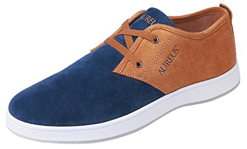 Aureus Men's Evolutio Navy Blue/Ginger Brown Nubuck Leather Low Top Boat Shoe Size 7 M US