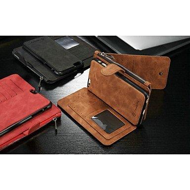 Fundas y estuches para teléfonos móviles, 2en1 nueva moda ranura cuero genuino multifunción tarjeta de bolsillo con cremallera cubierta trasera de la caja de cáscara para el iphone ( Color : Rojo , Mo Marrón