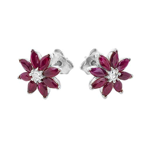 Exotic 14k White Gold Daisy Diamond and Genuine Ruby Flower Stud Earrings