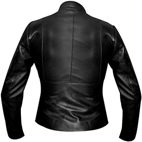 Veste en cuir synthétique pour femme style motard - Noir - XX-Large