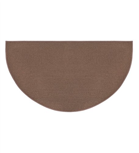 - Fire Retardant Fiberglass Half Round Hearth Fireplace Area Rug Polyester Trim Non Slip Mat Low Profile Protects Floors from Sparks Embers Logs 27 W x 48 L Brown