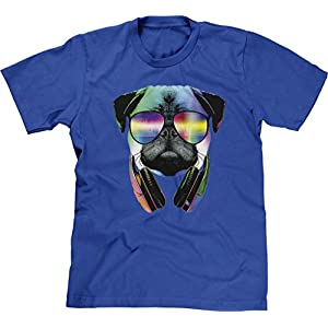 Blittzen Mens T-shirt Pug Sunglasses Headphones, M, Royal Blue