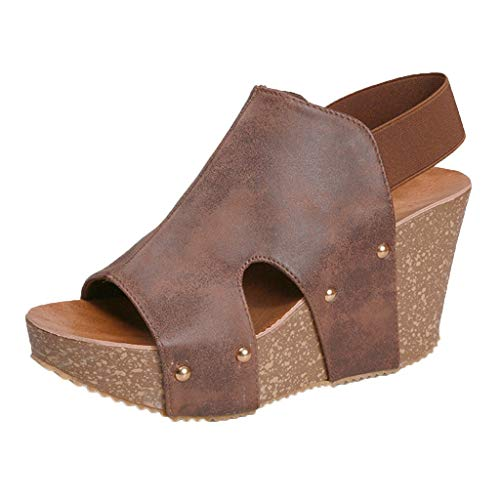 Sherostore ♡ Summer Sandals Women Wedge Sandals Platform Loafers Shoes Solid Fuax Leather Bottom Slipper Shoes Flip Flop Brown