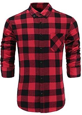 GoldCut Men's 100% Cotton Slim Fit Long Sleeve Button Down Plaid Dress Shirt