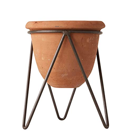 (Creative Co-Op Terracotta Pot with Metal Stand )