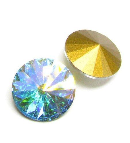 2 pcs Swarovski 1122 Crystal Round Rivoli Stone Gold Foiled Clear AB 18mm / Findings / Crystallized Element
