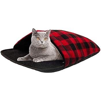 Amazon.com : Soft Fleece Self-Warming Cat Bed Warm Sleeping ...