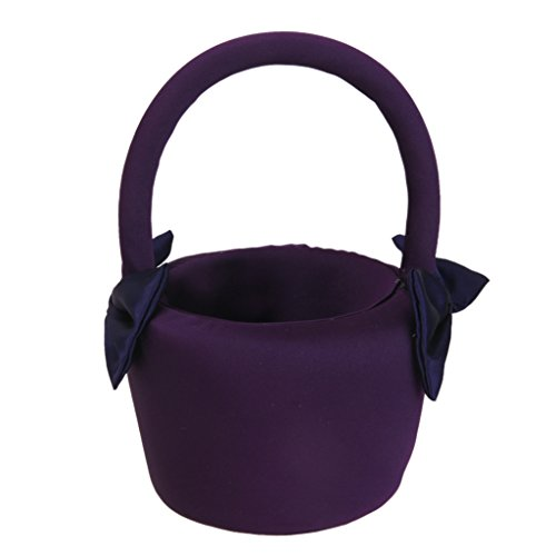 MagiDeal Wedding Ceremony Bridesmaid Flower Girl Basket Decorated with Satin Bowknots Purple