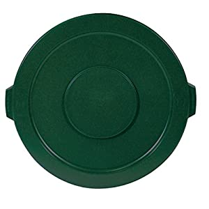 Rubbermaid Commercial FG263100DGRN Brute HDPE Lid for Round Waste Container, Green