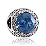 Pandora Midnight Blue Radiant Hearts Silver Charm with Clear CZ 791725NMB