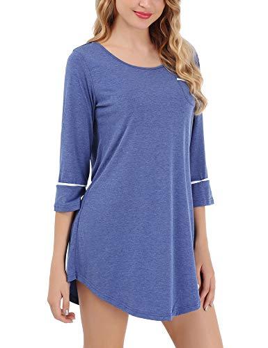 FISOUL Women Sleepshirt Scoop Neck 3/4 Sleeves Nightgown Dress Sleepwear Sexy Nightshirts Comfort Solid Color Patchwork Lingerie Pajama Dress (Blue, S)