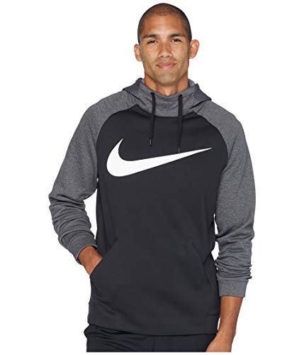 Nike Men's Therma Swoosh Training Hoodie Black/Charcoal Heather/White Size X-Large