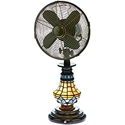 DecoBREEZE Oscillating Table Fan and Tiffany Style Table Lamp, 3 Speed Circulator Fan, 10 in, Victorian