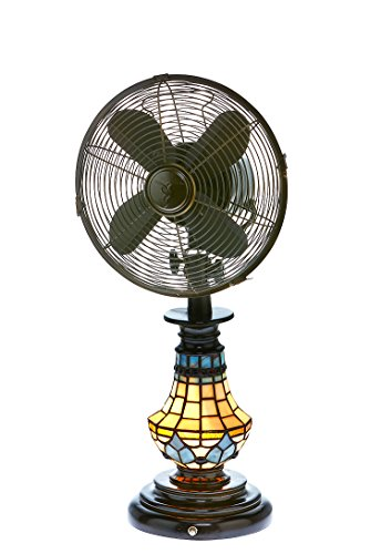 DecoBREEZE Oscillating Table Fan and Tiffany Style Table Lamp, 3 Speed Circulator Fan, 10 In, ()