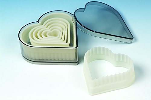 7 piece set Acrylic Heart Fluted Cookie Cutter for Cookies, Pastry, Biscuits, Pie Tops, Sugarcraft and Cake decoration