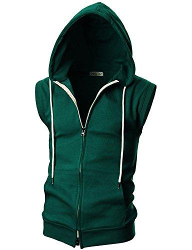 OHOO Mens Slim Fit Sleeveless Lightweight Zip-up Hooded Vest with Double Slide Zipper/DCF011-GREEN-S -