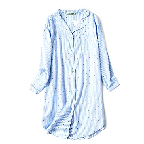 ENJOYNIGHT Women's Sleep Shirt Flannel Print Pajama Top Button-Front Nightshirt Sleepwear (XX-Large, Blue ()