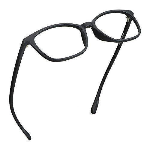 LifeArt Blue Light Blocking Glasses, Anti Eyestrain, Computer Reading Glasses, Gaming Glasses, TV Glasses for Women Men, Anti UV, Anti Glare (Black, +0.00 Magnification)