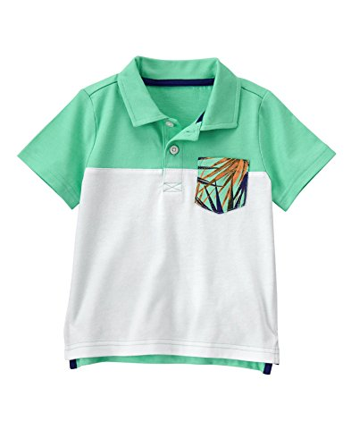 Crazy 8 Baby Toddler Boys' Color Block Jersey Polo, Opal, 5Y (Block Yoke)