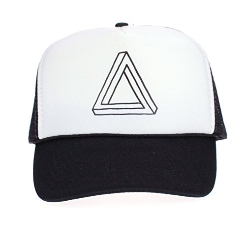 Mens Optical Illusion Triangle Pyramid Hipster Snap Back Cap Cotton Mesh Trucker - Snapbacks Hipster