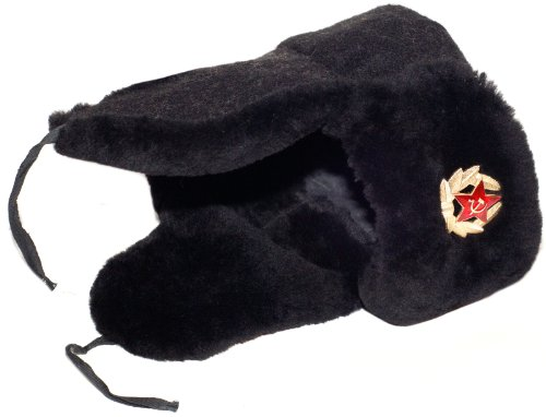 Lamb Navy (Navy Officer of the Russian Federation Lambskin Ushanka Hat-61 Soldier Insignia)