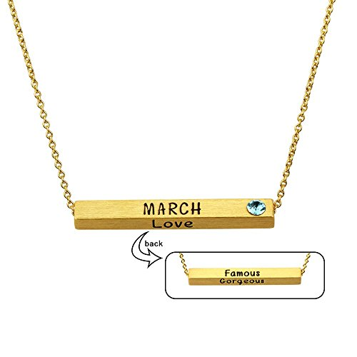 Miraclelove Gold Chain Crystal Necklace Birthstone Personalized Pendant Bar Necklace, (0.25 Ounce Bar)