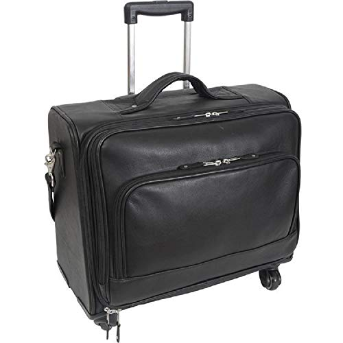 Canyon Outback Leather Goods Inc. Carlin 18-inch Leather Wheeled Briefcase, Black, One Size