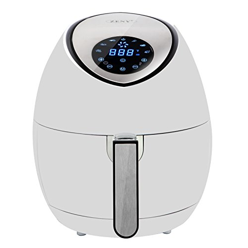 SUPER DEAL Modern White Touch Screen Electric Air Fryer, Rapid Air Technology, 8 Cooking Presets, Timer and Temperature Control, 3.7 QT W/Recipe Cookbook
