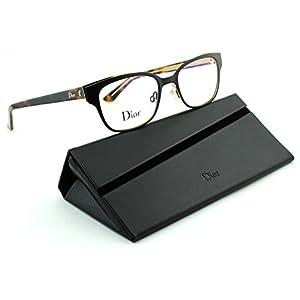Dior Montaigne 12 Women Metal Rectangular Eyeglasses (Brown Havana Frame (0GAS), 50)