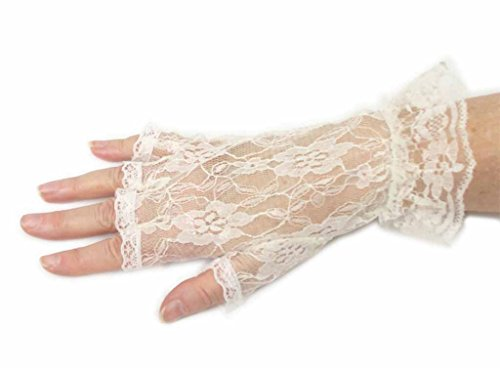Lace Luxe Wrist Length Half-Finger Gloves In 6 Colors Greatlookz Colors: Ivory