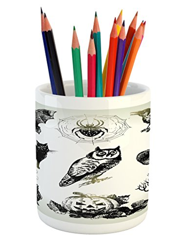 Lunarable Vintage Halloween Pencil Pen Holder, Halloween Related Pictures Drawn by Hand Raven Owl Spider Black Cat, Printed Ceramic Pencil Pen Holder for Desk Office Accessory, Black (Halloween Related Photos)