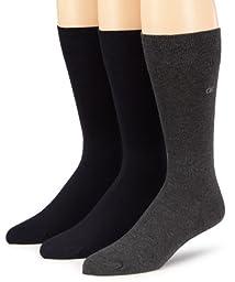 Calvin Klein Men\'s 3 Pack Combed Flatknit Socks, Navy/Graphite Htr, 7-12