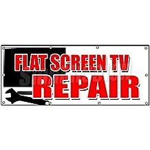 "36""x96"" FLAT SCREEN TV REPAIR BANNER SIGN service plasma lcd fix service sales"