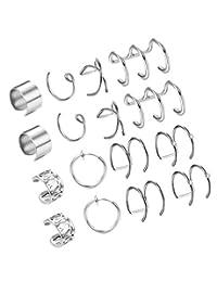 LOYALLOOK Stainless Steel Cuff Earring Non Pierced Earrings Clip On Earrings Fake Piercings For Men Women 6pairs