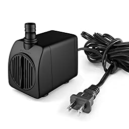 Uniclife Ul210 Submersible Water Pump, 210gph, Quiet Indoor Outdoor Water/garden/fountain/pool/ Aquarium with 6\' UL Listed Cord