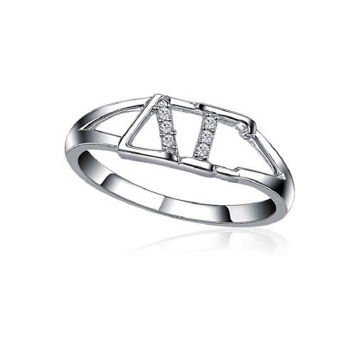 Delta Gamma Horizontal Silver Ring ()