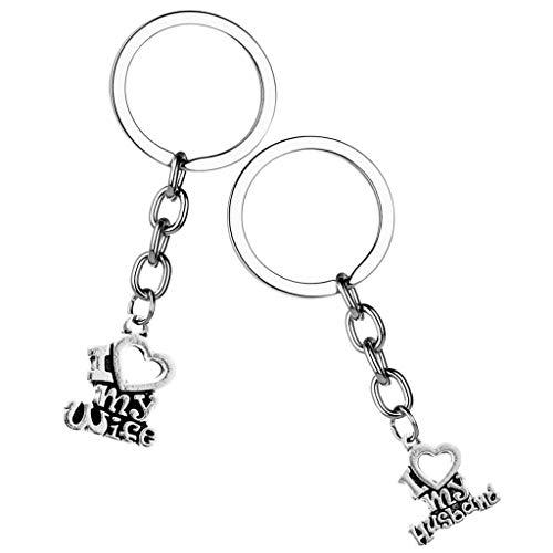 NATFUR 2X Lovely Couple Lovers Keyring Keychain Bag Purse Charm Pendant Car Decor Elegant Novelty for Women for Men for Girls for Gift Pretty Fine