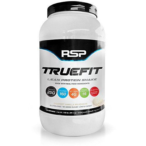 RSP TrueFit - Lean Meal Replacement Protein Shake with Fiber & Probiotics from Essential Real Whole Foods, Gourmet Vanilla Milkshake, 2 Pound Protein Powder for Men & Women by RSP Nutrition