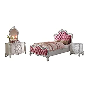 Soflex Classic Andria Kids Bedroom Set 4Pcs Antique White Pink Upholstery Victorian Style